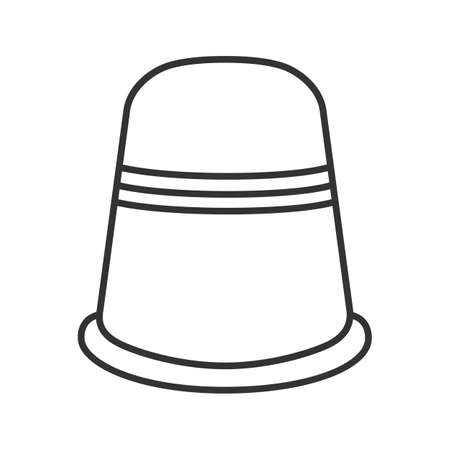 Sewing thimble linear icon. Thin line illustration. Finger protector. Contour symbol. Vector isolated outline drawing