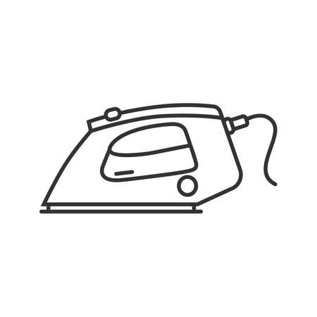 Steam iron linear icon. Thin line illustration. Contour symbol. Vector isolated outline drawing. 일러스트