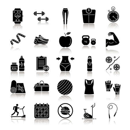 Fitness drop shadow black glyph icons set. Sports equipment. Exercise machines, barbells, dumbbells, clothes. Isolated vector illustrations
