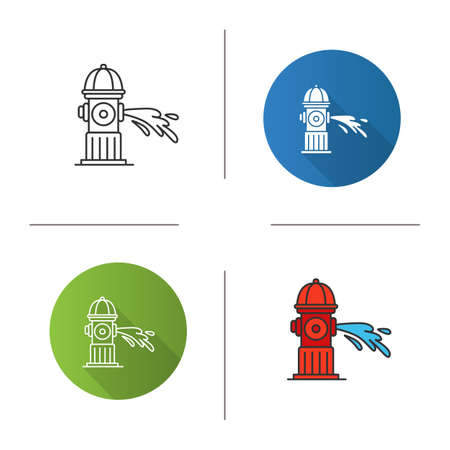 Fire hydrant gushing water icon. Flat design, linear and color styles. Fireplug. Isolated vector illustrations