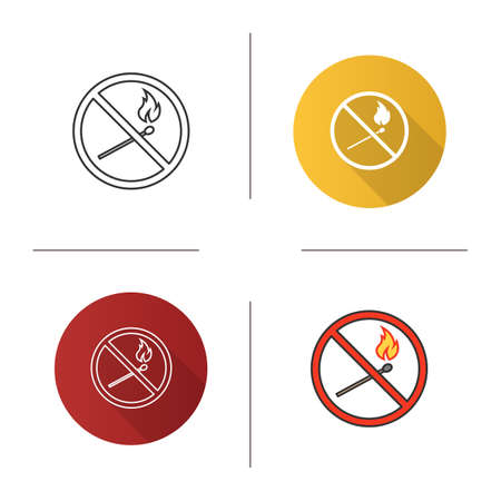 Forbidden sign with burning matchstick icon. Flat design, linear and color styles. No naked lights prohibition. Isolated vector illustrations