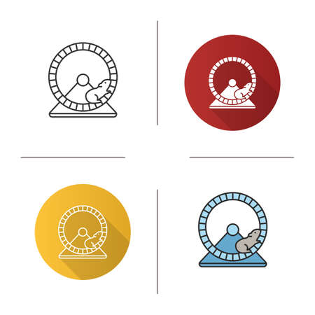 Hamster wheel icon. Flat design, linear and color styles. Rodent cage equipment. Isolated vector illustrations
