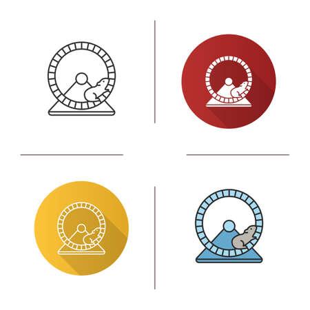 Hamsterrad Symbol. Flaches Design, lineare und Farbstile. Nagetierkäfigausrüstung. Isolierte Vektorillustrationen