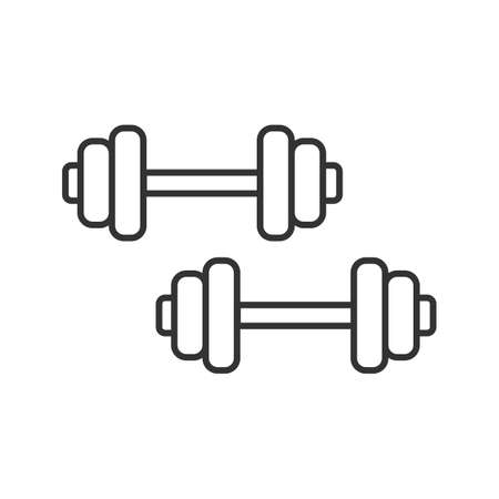 Dumbbells linear icon. Thin line illustration. Barbells. Fitness equipment. Contour symbol. Vector isolated outline drawing