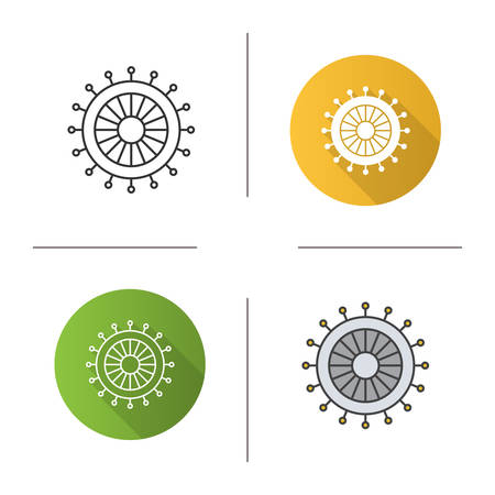 Straight pins set icon. Flat design, linear and color styles. Isolated vector illustrations