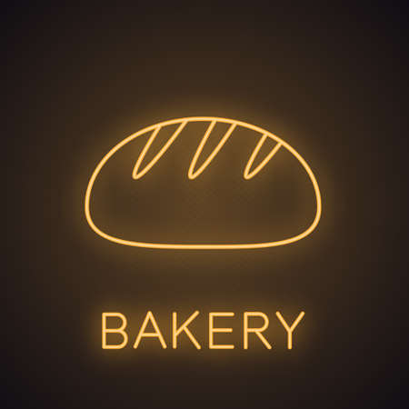 White round bread neon light icon. Bakery shop glowing sign. Vector isolated illustration.