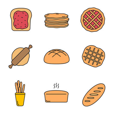 Bakery color icon. Toast, pancakes, pie, rolling pin, rye bread, Belgian waffle, grissini, brick loaf. Isolated vector illustration.