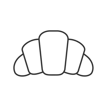 Croissant linear icon. Thin line illustration. Crescent roll. Contour symbol. Vector isolated outline drawing.  イラスト・ベクター素材