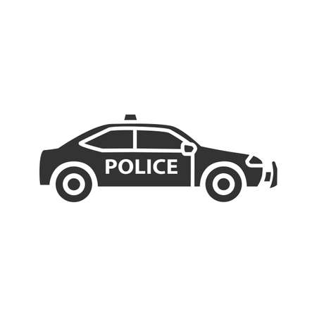 Police car glyph icon. Silhouette symbol. Negative space. Vector isolated illustration.