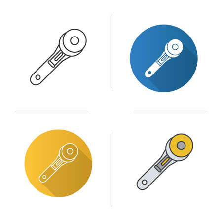 Rotary cutter icon. Flat design, linear and color styles. Patchwork knife. Isolated vector illustrations.