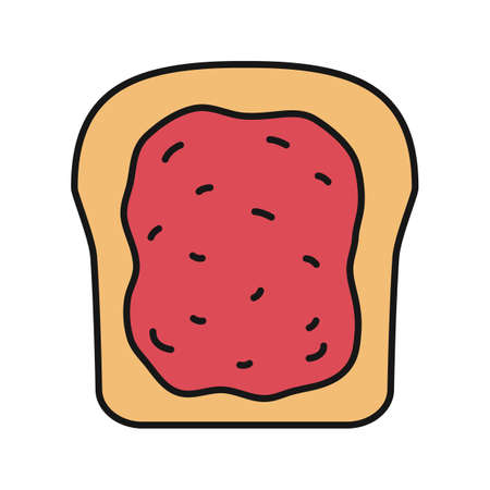 Toast with jam color icon. Breakfast. Isolated vector illustration.