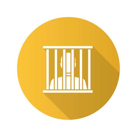 Prisoner flat design long shadow glyph icon. Jail, prison. Vector silhouette illustration.
