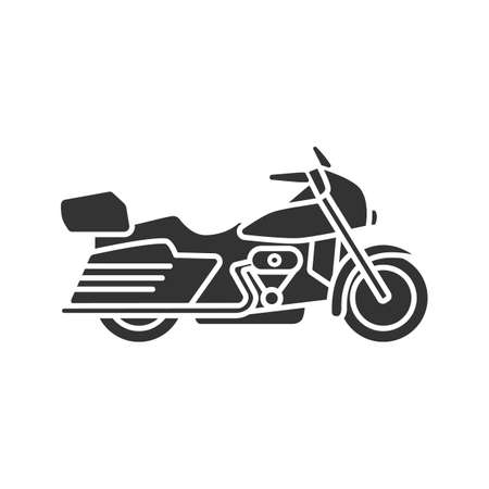 Motorbike glyph icon. Motorcycle. Silhouette symbol. Negative space. Vector isolated illustration.