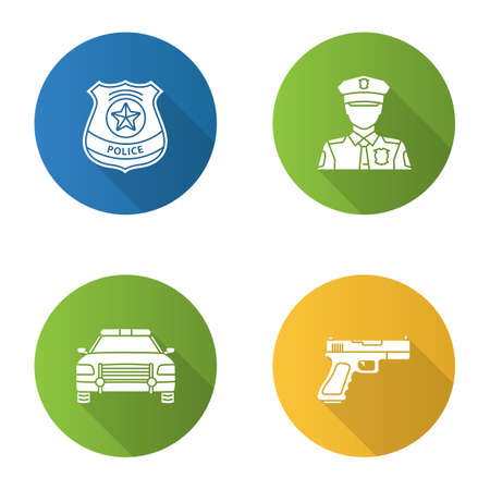 Police flat design long shadow glyph icons set. Policeman, gun, car, police badge. Vector silhouette illustration. Illustration