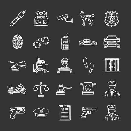 Police chalk icons set. Law enforcement. Transport, protection equipment, weapon. Isolated vector chalkboard illustrations. Illusztráció