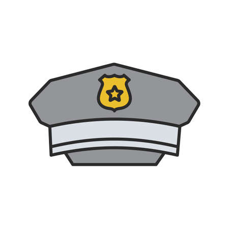 Policeman hat color icon. Cop's cap. Isolated vector illustration. Stock Illustratie