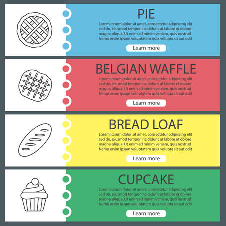 Bakery web banner templates set. Pie, Belgian waffle, bread loaf, cupcake. Website color menu items with linear icons. Vector headers design concepts. Illusztráció
