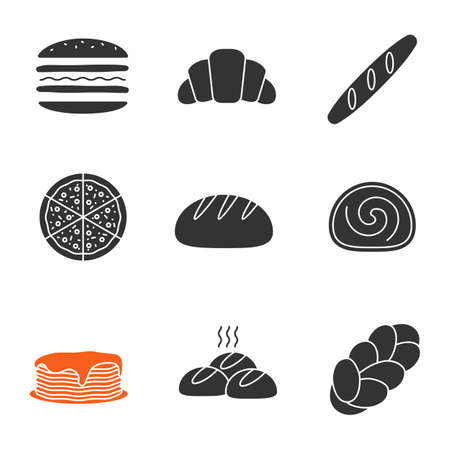 Bakery glyph icons set. Burger, croissant, baguette, pizza, round bread, swiss roll, pancakes, rolls, challah. Silhouette symbols. Vector isolated illustration