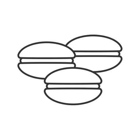 Macarons linear icon. Thin line illustration. Contour symbol. Vector isolated outline drawing