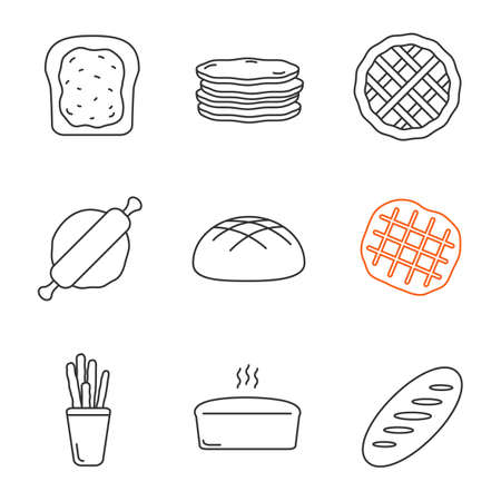 Bakery linear icons set. Toast, pancakes, pie, rolling pin, rye bread, belgian waffle, grissini, brick loaf. Thin line contour symbols. Isolated vector outline illustrations