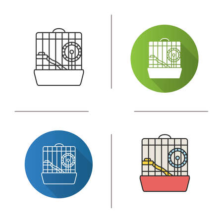 Hamster cage icon. Flat design, linear and color styles. Rodent wheel. Isolated vector illustrations