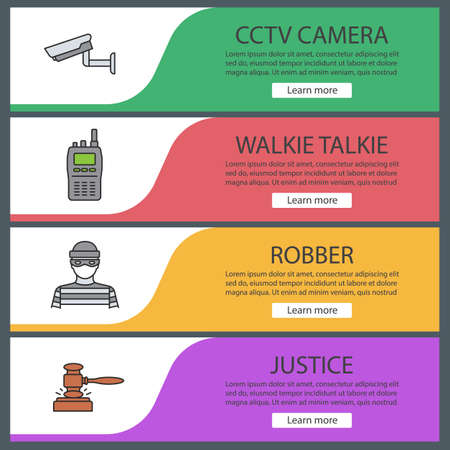 Police web banner templates set. Surveillance camera, walkie talkie, robber, gavel. Website color menu items. Vector headers design concepts