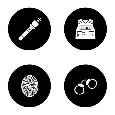 Police glyph icons set. Flashlight, bulletproof vest, fingerprint, handcuffs. Vector white silhouettes illustrations in black circles