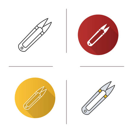 Sewing clippers icon. Flat design, linear and color styles. Thread cutter. Isolated vector illustrations