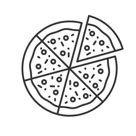 Pizza with one slice separated linear icon. Thin line illustration. Contour symbol. Vector isolated outline drawing