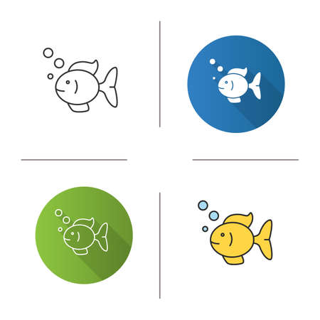 Aquarium fish icon. Flat design, linear and color styles. Fishkeeping. Fishbowl pet. Isolated vector illustrations