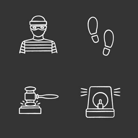 Police chalk icons set. Robber, footprints, gavel, alarm. Isolated vector chalkboard illustrations Vettoriali