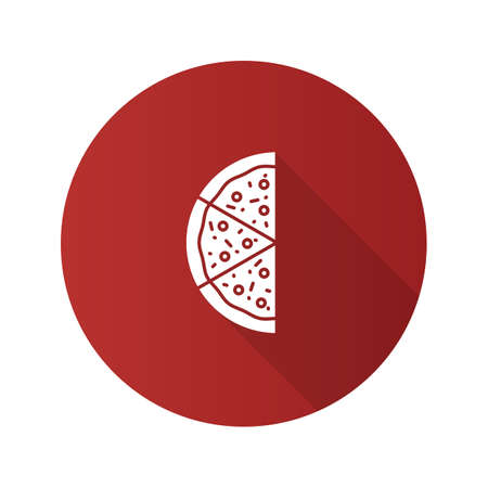 Half of pizza flat design long shadow glyph icon. Vector silhouette illustration Çizim