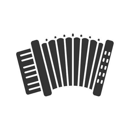 Accordion glyph icon. Silhouette symbol. Negative space. Vector isolated illustration