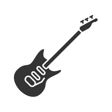Electric guitar glyph icon. Silhouette symbol. Negative space. Vector isolated illustration