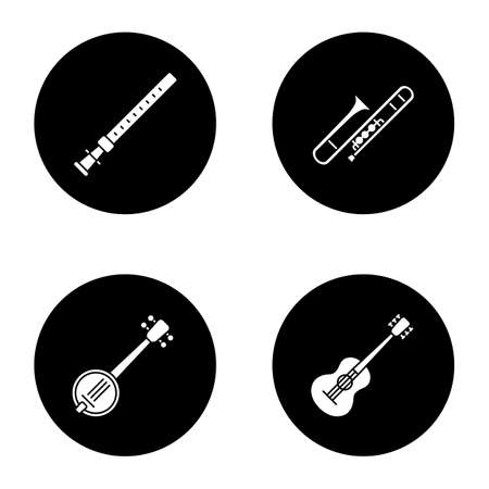 Musical instruments glyph icons set. Duduk, guitar, banjo, trombone. Vector white silhouettes illustrations in black circles Illustration