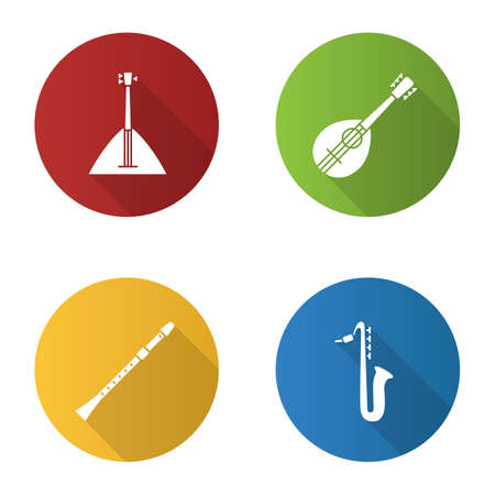 Musical instruments flat design long shadow glyph icons set. Balalaika, mandolin, saxophone, flute. Vector silhouette illustration