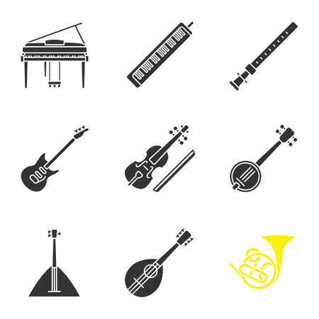 Musical instruments glyph icons set. Piano, melodica, duduk, electric guitar, viola, banjo, balalaika, mandolin, french horn. Silhouette symbols. Vector isolated illustration 向量圖像