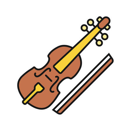 Viola and bow color icon. Cello. Isolated vector illustration Illustration