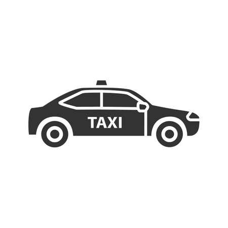 Ikona samochodu glifów. Taxi. Samochód. Symbol sylwetki. Negatywna przestrzeń. Ilustracja wektorowa na białym tle Ilustracje wektorowe