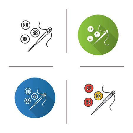 Sewing buttons and needle with thread icon. Flat design, linear and color styles. Isolated vector illustrations