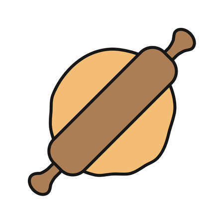 Rolling pin and dough color icon. Isolated vector illustration