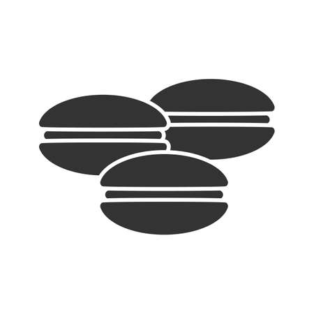 Macaroons glyph icon. Silhouette symbol. Vector isolated illustration.
