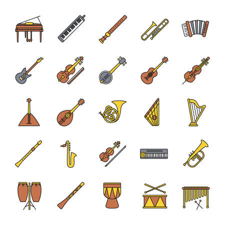 Musical instruments color icons set. Orchestra equipment. Stringed, wind, percussion instruments. Isolated vector illustrations.