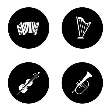 Musical instruments glyph icons set. Accordion, harp, violoncello, flugelhorn. Vector white silhouettes illustrations in black circles.