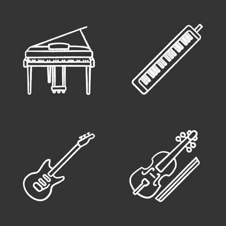 Musical instruments chalk icons set. Piano, melodica, electric guitar, viola. Isolated vector chalkboard illustrations. Illustration