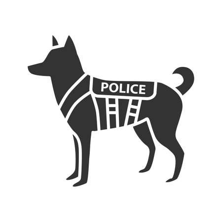 K9 police dog glyph icon. German shepherd. Military dog breed. Silhouette symbol. Vector isolated illustration. Illustration