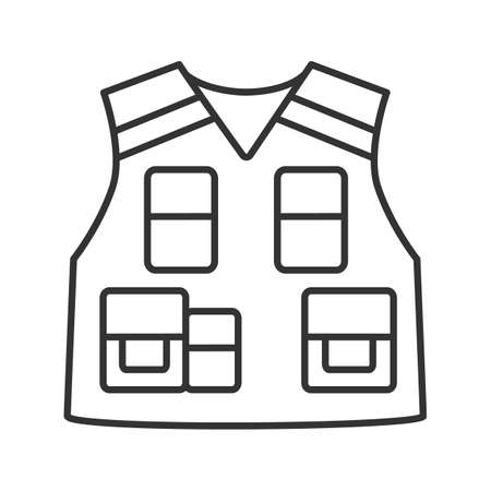 Police tactical vest linear icon. Thin line illustration. Bulletproof waistcoat. Fisherman, photographer clothes. Contour symbol. Vector isolated outline drawing Ilustração