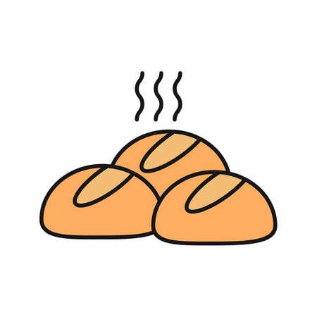 Diner rolt kleur pictogram. Ronde broodjes. Geïsoleerde vectorillustratie