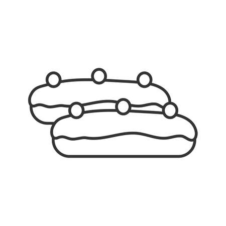 Eclair cake linear icon. Thin line illustration. Contour symbol. Vector isolated outline drawing
