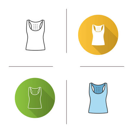 Sports tank top icon. Flat design, linear and color styles. Sleeveless t-shirt. Isolated vector illustrations